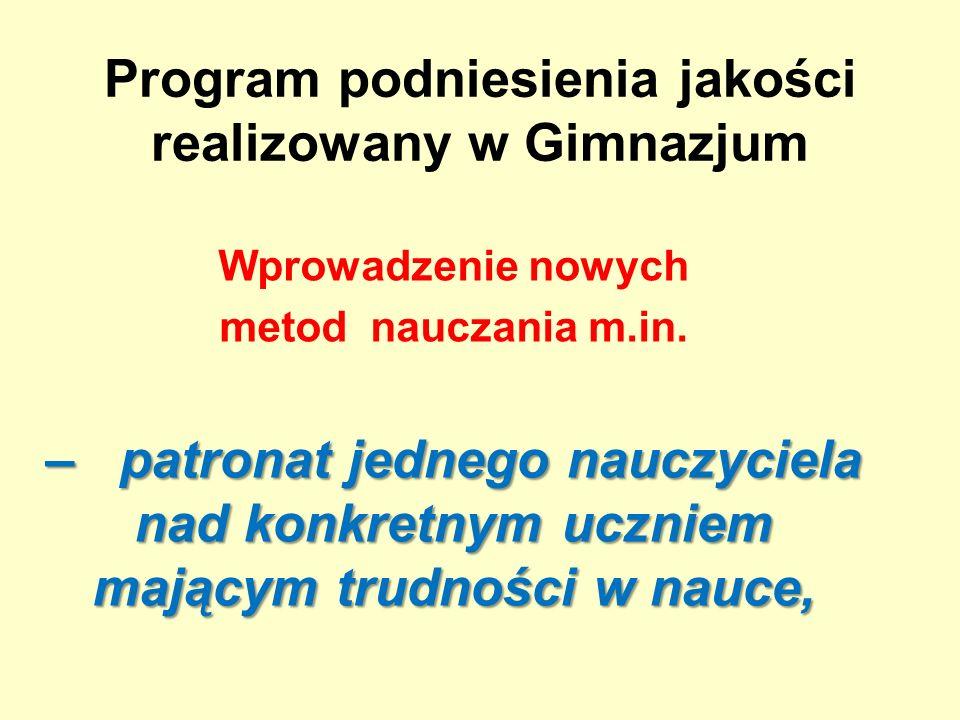 Program podniesienia jakości realizowany w Gimnazjum Wprowadzenie nowych metod nauczania m.in.