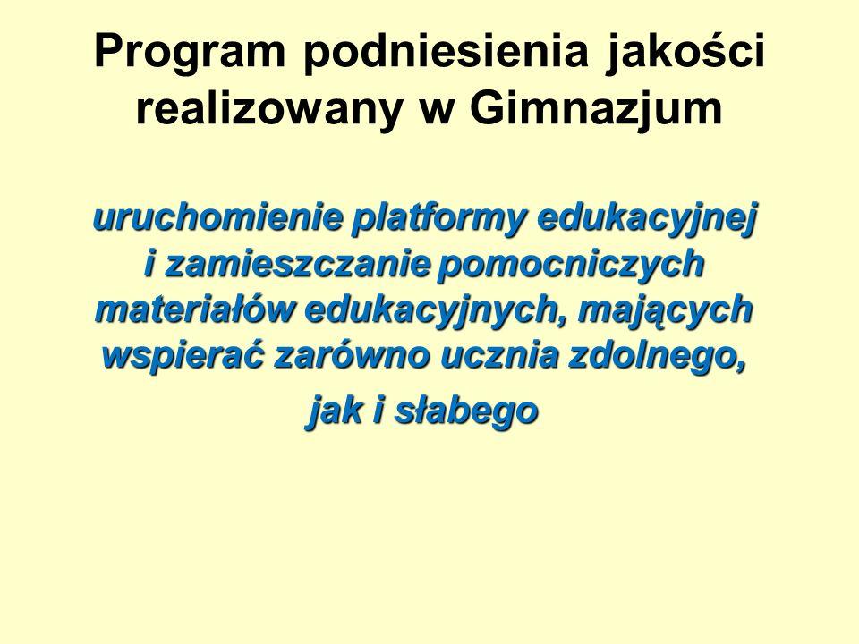 Program podniesienia jakości realizowany w Gimnazjum uruchomienie platformy edukacyjnej i zamieszczanie pomocniczych materiałów edukacyjnych, mających wspierać zarówno ucznia zdolnego, jak i słabego