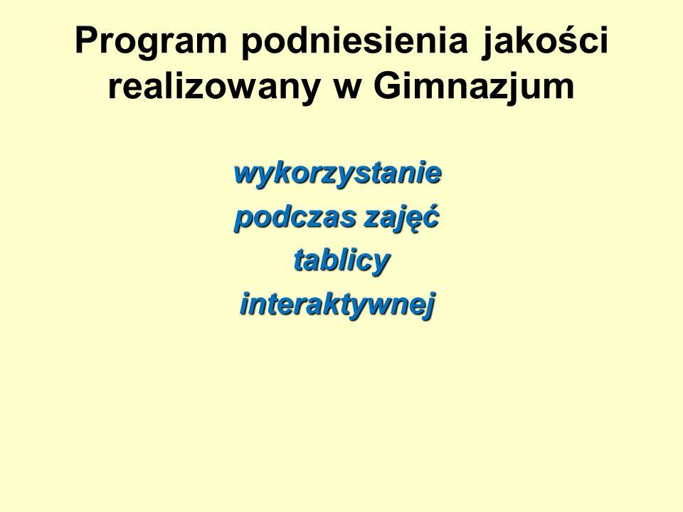 Program podniesienia jakości realizowany w Gimnazjum wykorzystanie podczas zajęć tablicy tablicyinteraktywnej