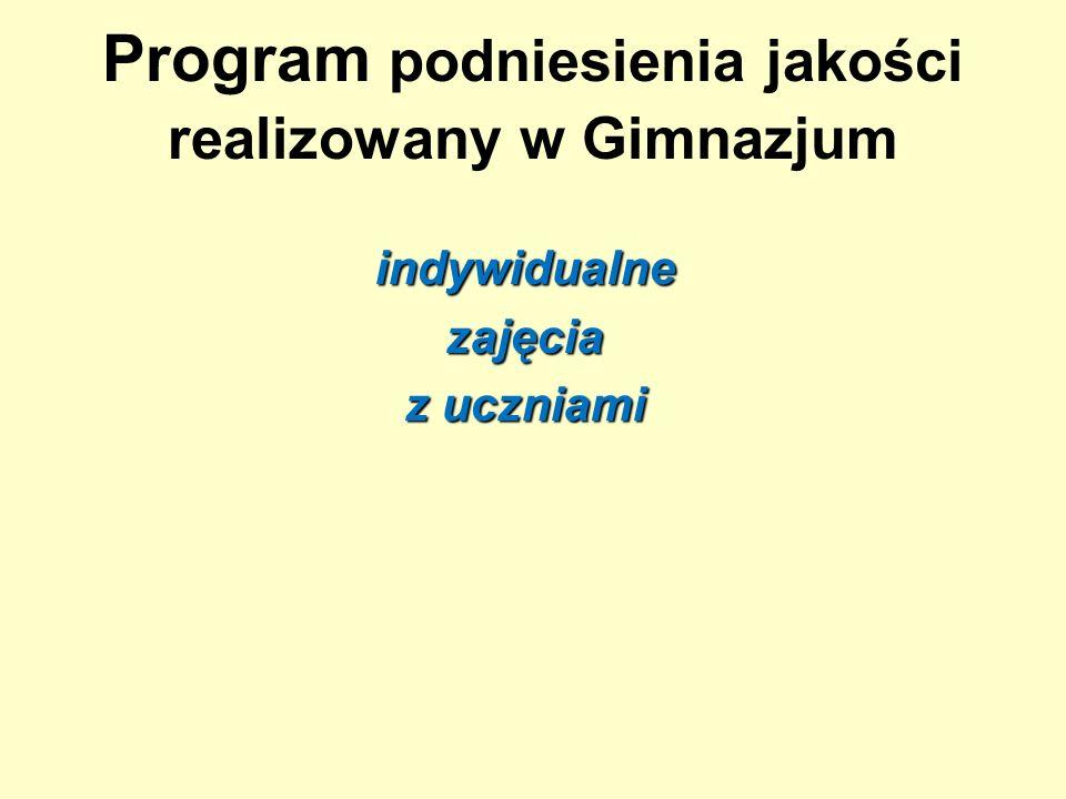 Program podniesienia jakości realizowany w Gimnazjum indywidualnezajęcia z uczniami
