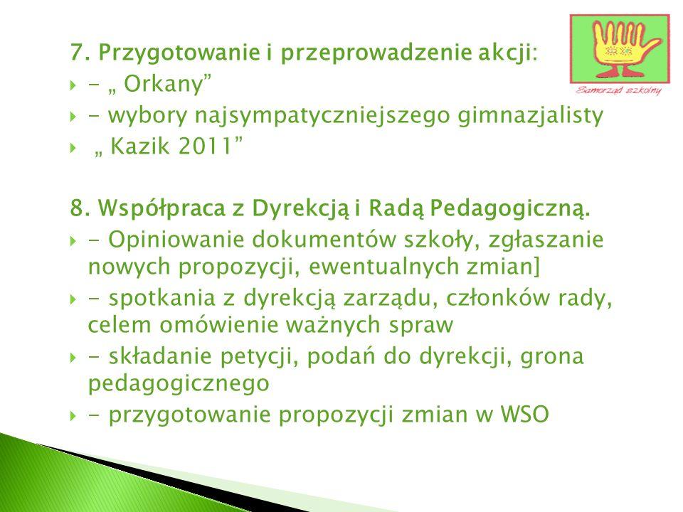 7. Przygotowanie i przeprowadzenie akcji: - Orkany - wybory najsympatyczniejszego gimnazjalisty Kazik 2011 8. Współpraca z Dyrekcją i Radą Pedagogiczn