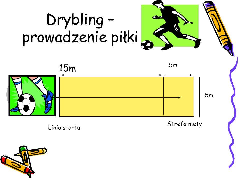 Test oceny sprawności drużyny TOSD składa się z 3 prób: 1. Drybling- prowadzenie piłki- 12 metrowy slalom z piłką 2. Kontrola nad piłką i podania- 17