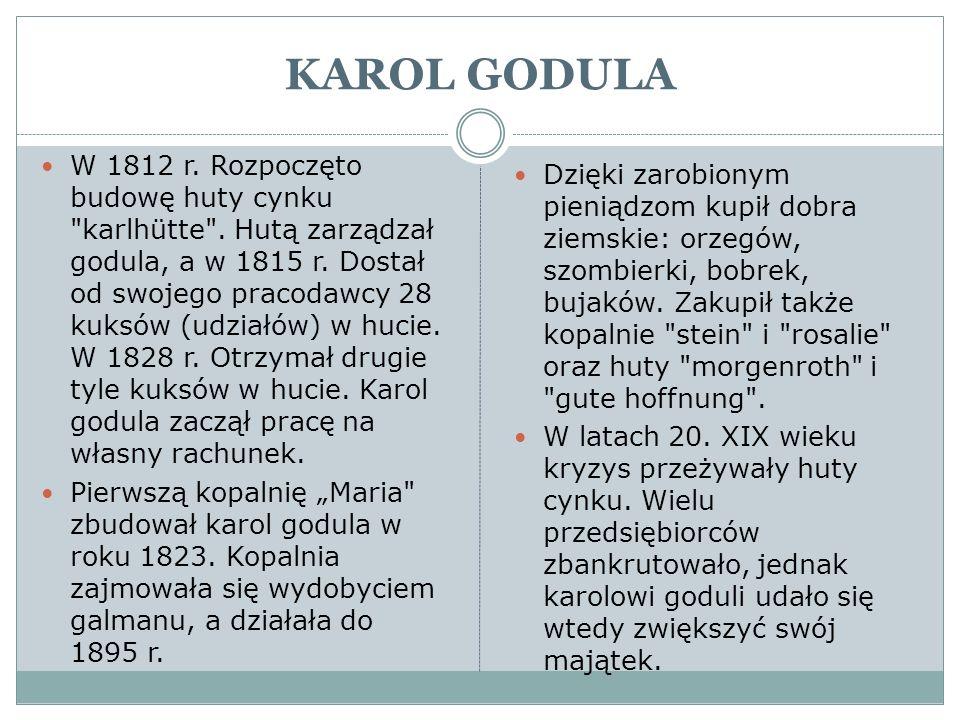 KAROL GODULA W 1812 r. Rozpoczęto budowę huty cynku
