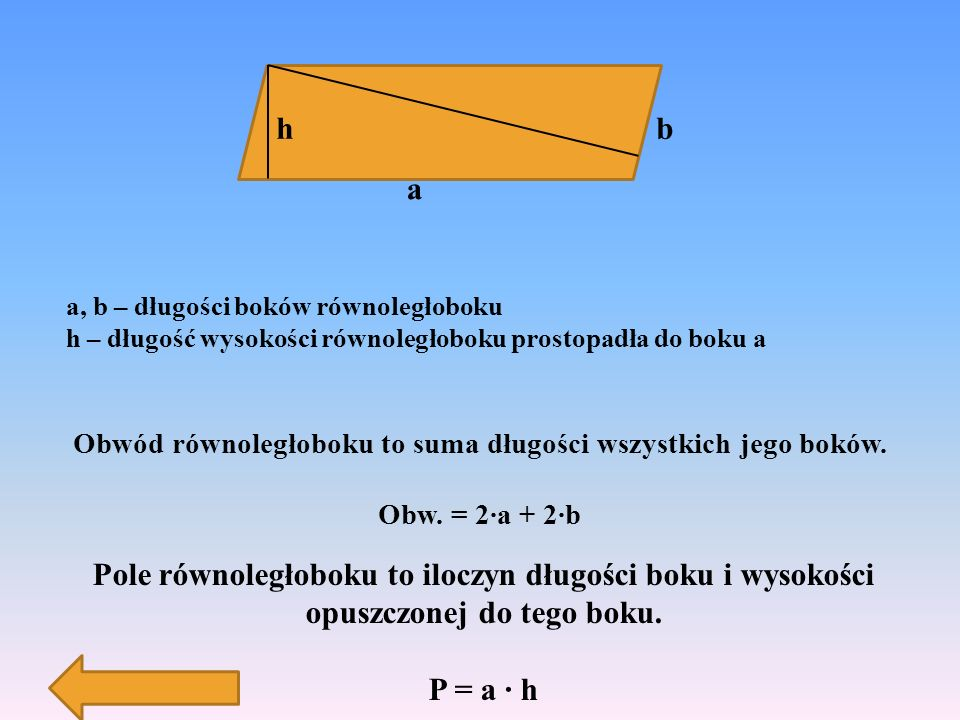 romb ma cztery boki równej długości; przekątne przecinają się w połowie pod kątem prostym.