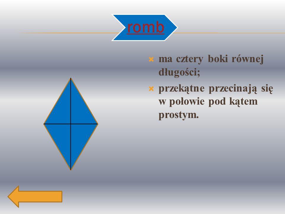 a a aa e f Obwód rombu to suma długości wszystkich jego boków.