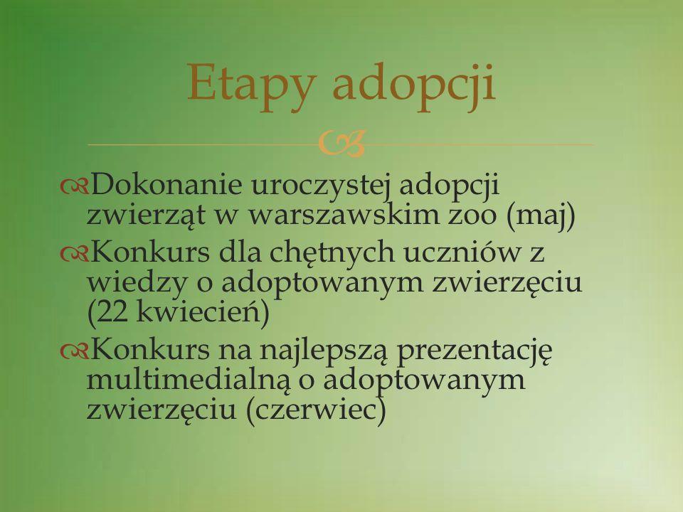 Dokonanie uroczystej adopcji zwierząt w warszawskim zoo (maj) Konkurs dla chętnych uczniów z wiedzy o adoptowanym zwierzęciu (22 kwiecień) Konkurs na