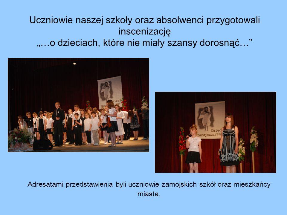 Uczniowie naszej szkoły oraz absolwenci przygotowali inscenizację …o dzieciach, które nie miały szansy dorosnąć… Adresatami przedstawienia byli ucznio