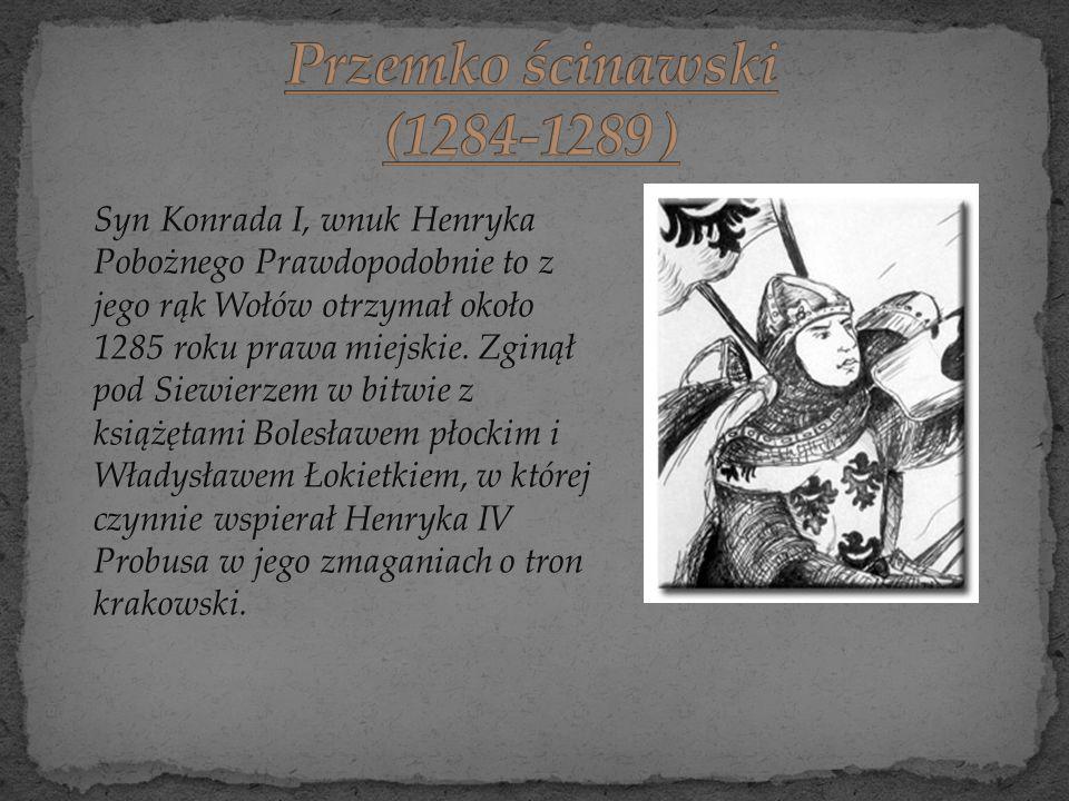 Syn Konrada I, wnuk Henryka Pobożnego Prawdopodobnie to z jego rąk Wołów otrzymał około 1285 roku prawa miejskie. Zginął pod Siewierzem w bitwie z ksi