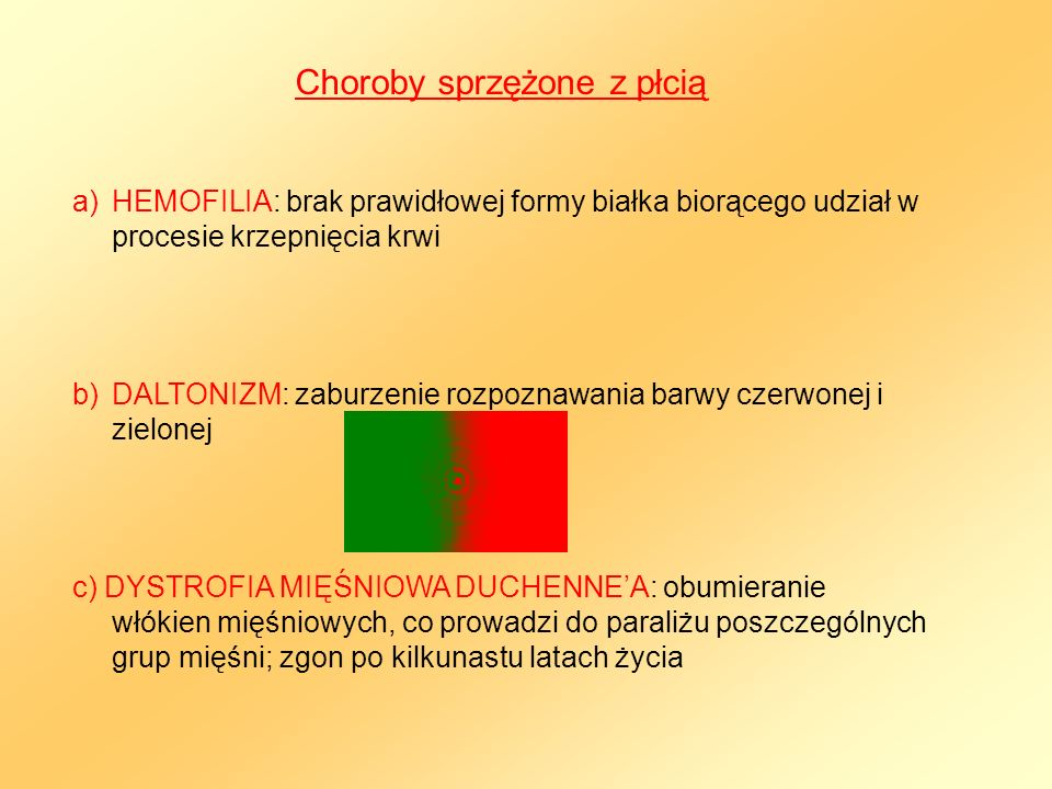 Choroby sprzężone z płcią a)HEMOFILIA: brak prawidłowej formy białka biorącego udział w procesie krzepnięcia krwi b)DALTONIZM: zaburzenie rozpoznawani