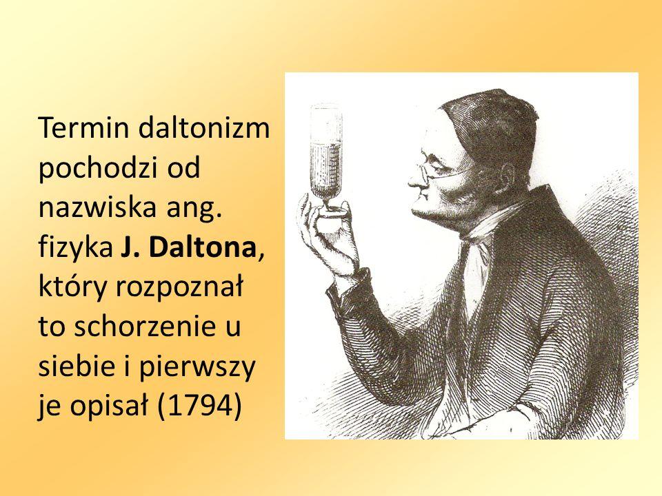 Termin daltonizm pochodzi od nazwiska ang. fizyka J. Daltona, który rozpoznał to schorzenie u siebie i pierwszy je opisał (1794)