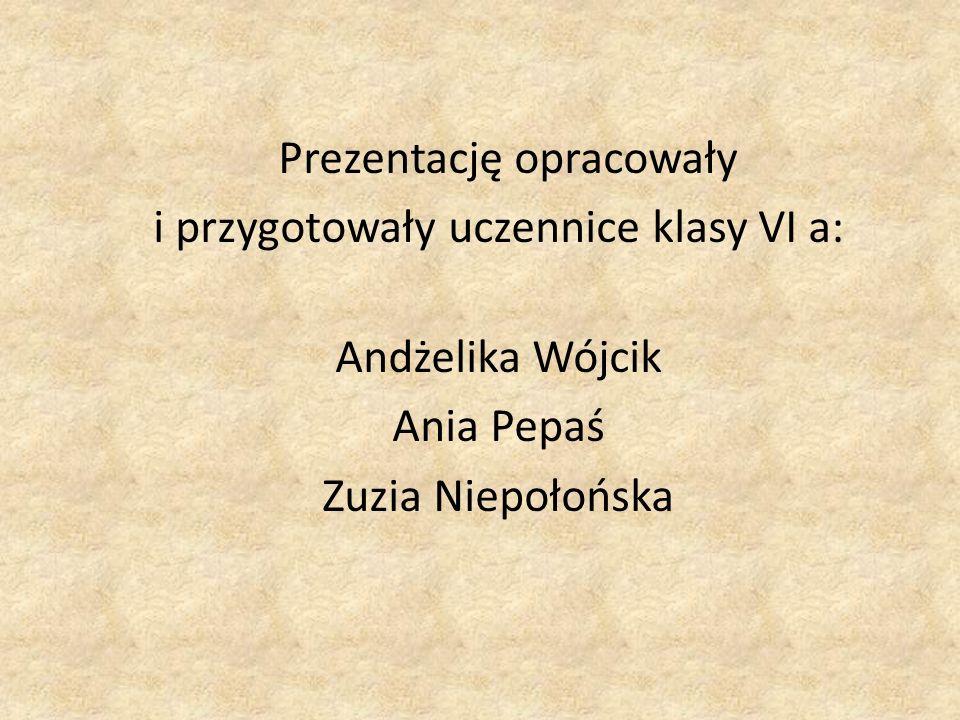 Prezentację opracowały i przygotowały uczennice klasy VI a: Andżelika Wójcik Ania Pepaś Zuzia Niepołońska