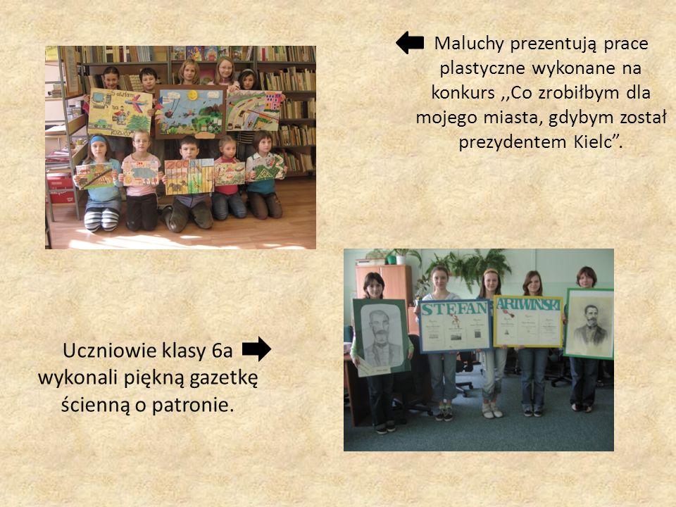 Maluchy prezentują prace plastyczne wykonane na konkurs,,Co zrobiłbym dla mojego miasta, gdybym został prezydentem Kielc. Uczniowie klasy 6a wykonali