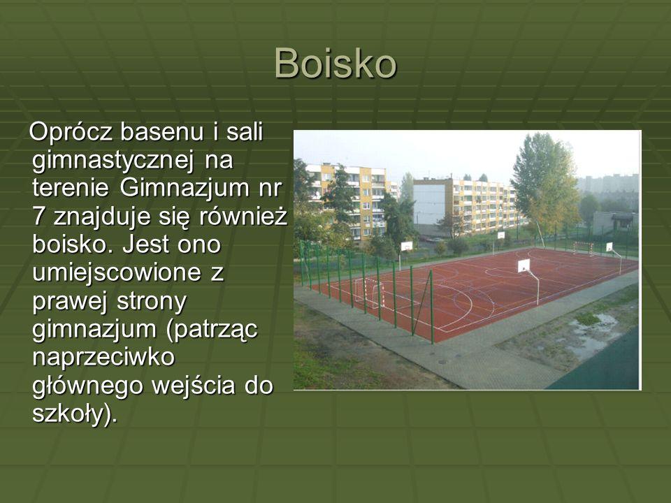Boisko Oprócz basenu i sali gimnastycznej na terenie Gimnazjum nr 7 znajduje się również boisko. Jest ono umiejscowione z prawej strony gimnazjum (pat