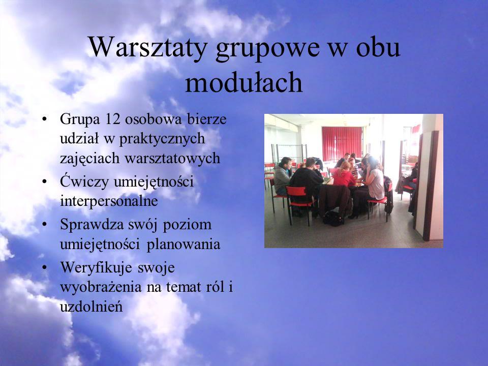 Warsztaty grupowe w obu modułach Grupa 12 osobowa bierze udział w praktycznych zajęciach warsztatowych Ćwiczy umiejętności interpersonalne Sprawdza sw
