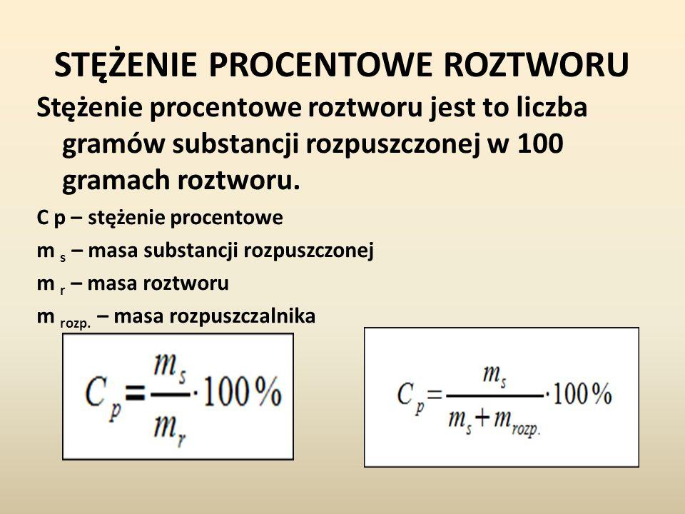 STĘŻENIE PROCENTOWE ROZTWORU Stężenie procentowe roztworu jest to liczba gramów substancji rozpuszczonej w 100 gramach roztworu. C p – stężenie procen