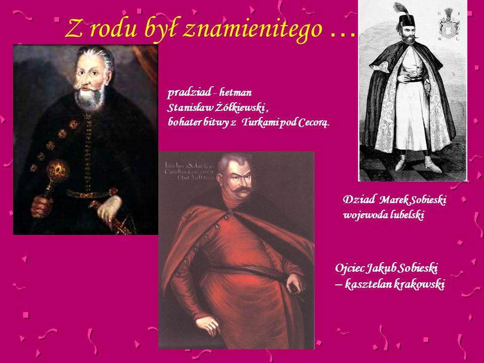 Z rodu był znamienitego … pradziad - hetman Stanisław Żółkiewski, bohater bitwy z Turkami pod Cecorą. Ojciec Jakub Sobieski – kasztelan krakowski Dzia