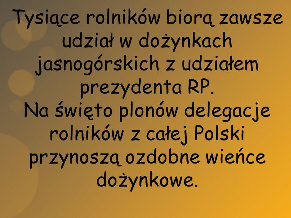 Tysiące rolników biorą zawsze udział w dożynkach jasnogórskich z udziałem prezydenta RP. Na święto plonów delegacje rolników z całej Polski przynoszą