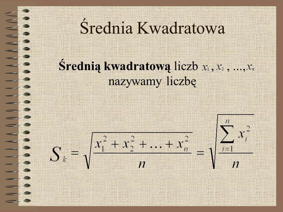 Średnia Kwadratowa Średnią kwadratową liczb,,..., nazywamy liczbę