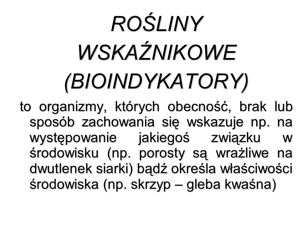 ROŚLINYWSKAŹNIKOWE(BIOINDYKATORY) to organizmy, których obecność, brak lub sposób zachowania się wskazuje np.