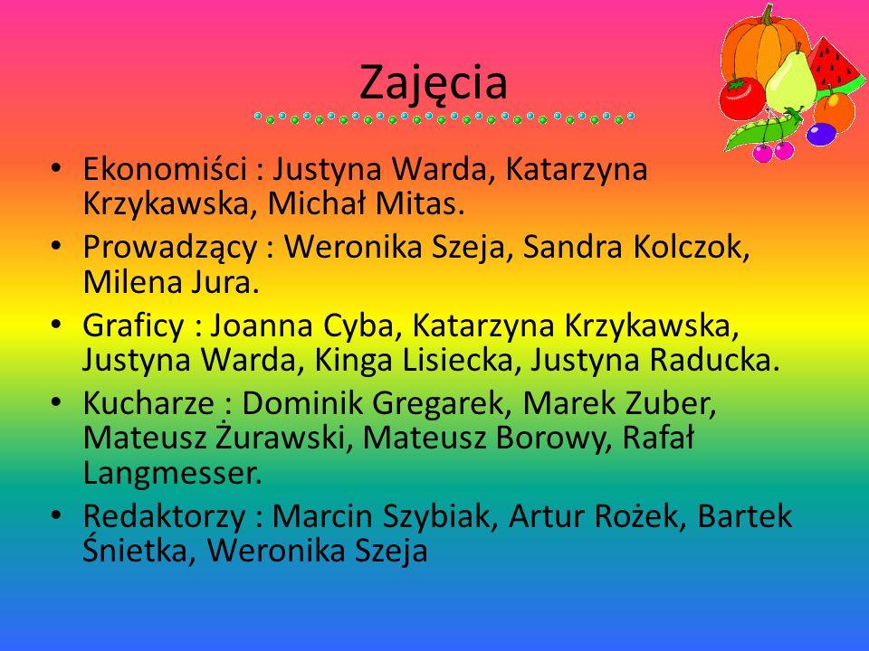 Zajęcia Ekonomiści : Justyna Warda, Katarzyna Krzykawska, Michał Mitas. Prowadzący : Weronika Szeja, Sandra Kolczok, Milena Jura. Graficy : Joanna Cyb