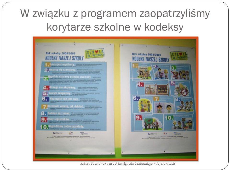 W związku z programem zaopatrzyliśmy korytarze szkolne w kodeksy Szkoła Podstawowa nr 15 im. Alfreda Szklarskiego w Mysłowicach