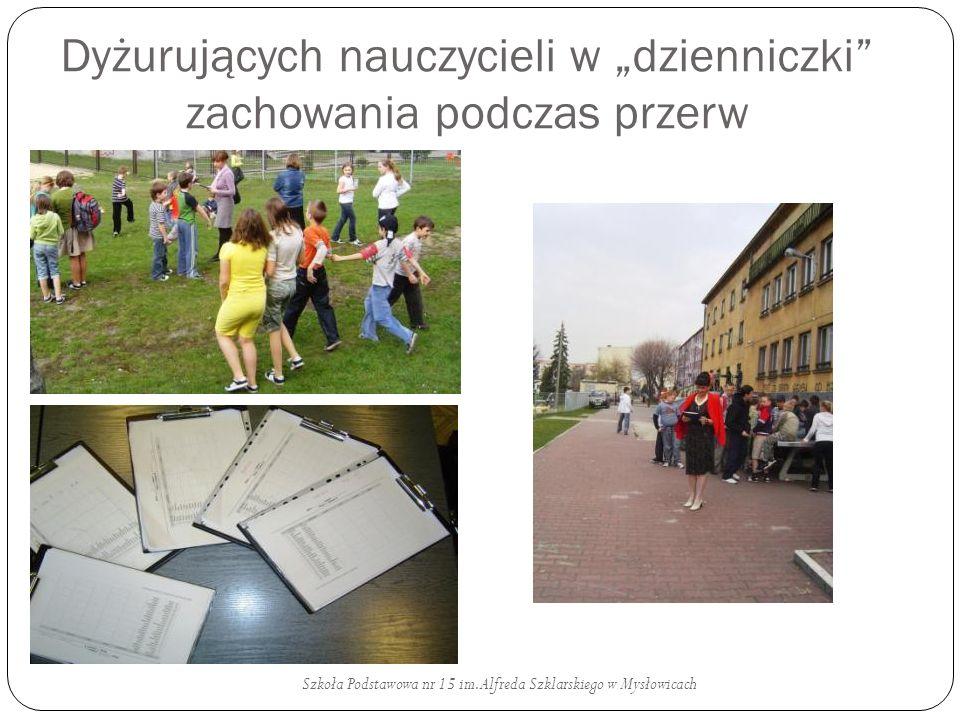Dyżurujących nauczycieli w dzienniczki zachowania podczas przerw Szkoła Podstawowa nr 15 im. Alfreda Szklarskiego w Mysłowicach