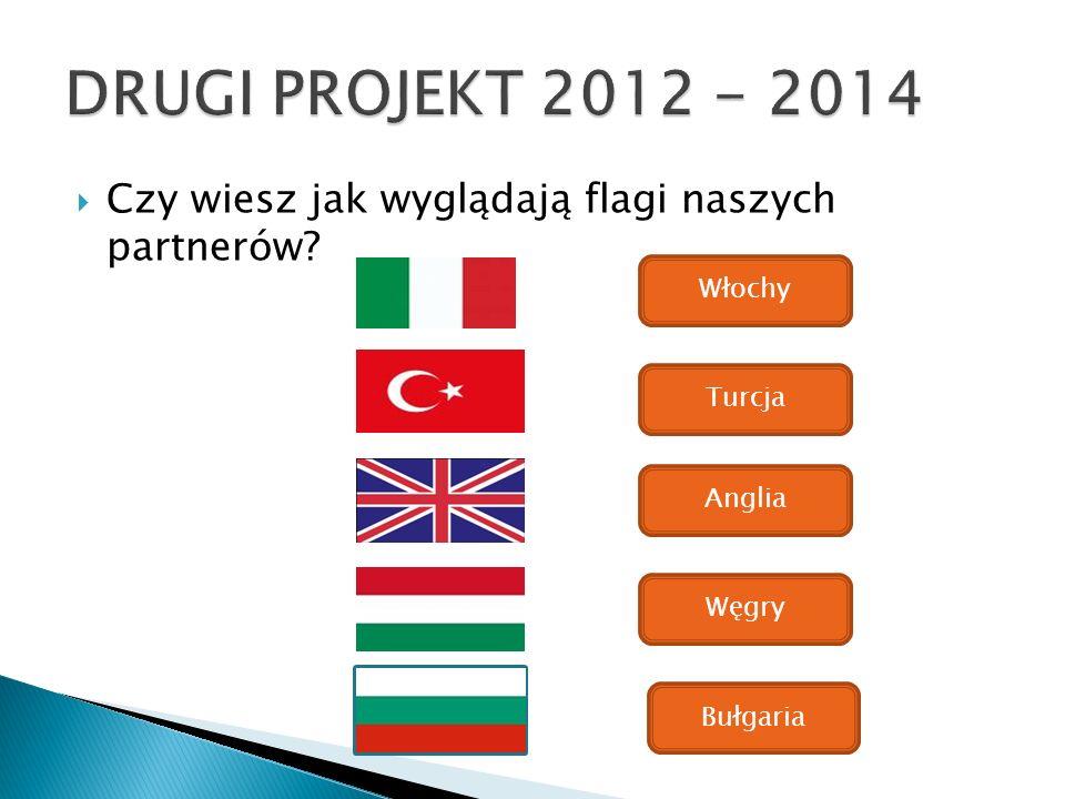 Czy wiesz jak wyglądają flagi naszych partnerów? Włochy Turcja Anglia Węgry Bułgaria