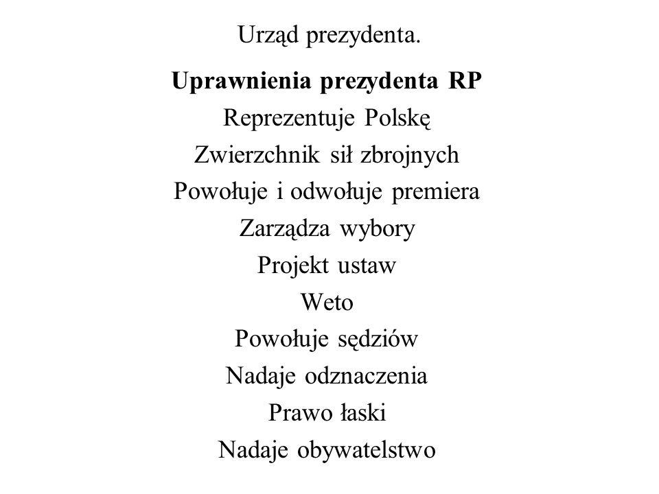 Urząd prezydenta. Uprawnienia prezydenta RP Reprezentuje Polskę Zwierzchnik sił zbrojnych Powołuje i odwołuje premiera Zarządza wybory Projekt ustaw W