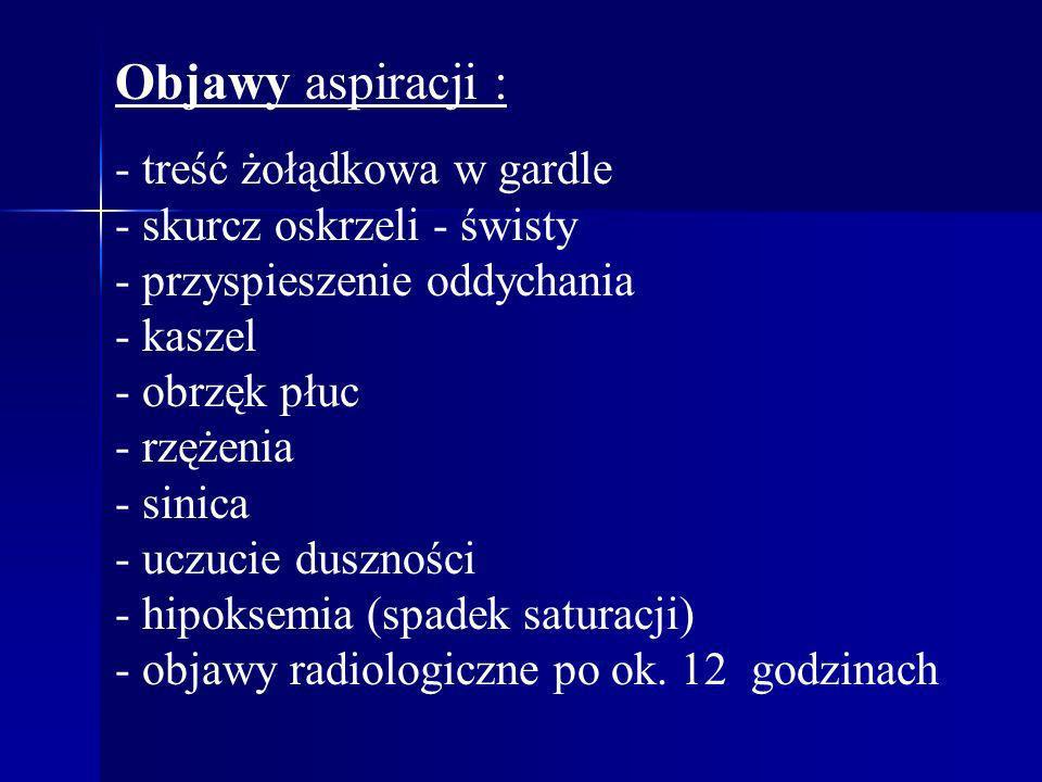 Objawy aspiracji : - treść żołądkowa w gardle - skurcz oskrzeli - świsty - przyspieszenie oddychania - kaszel - obrzęk płuc - rzężenia - sinica - uczu