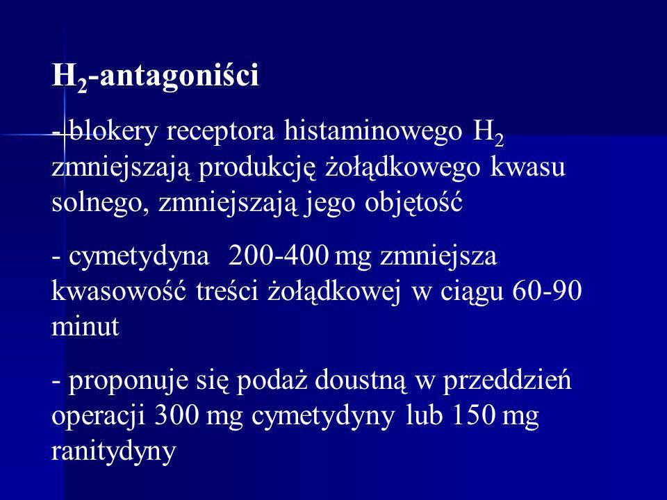 H 2 -antagoniści - blokery receptora histaminowego H 2 zmniejszają produkcję żołądkowego kwasu solnego, zmniejszają jego objętość - cymetydyna 200-400