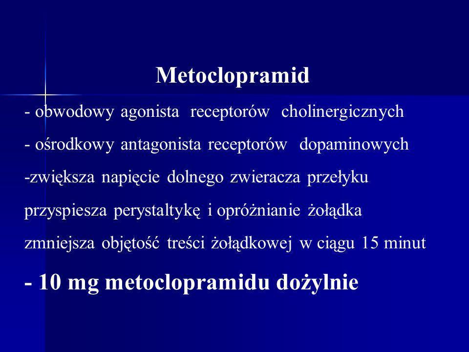Metoclopramid - obwodowy agonista receptorów cholinergicznych - ośrodkowy antagonista receptorów dopaminowych -zwiększa napięcie dolnego zwieracza prz
