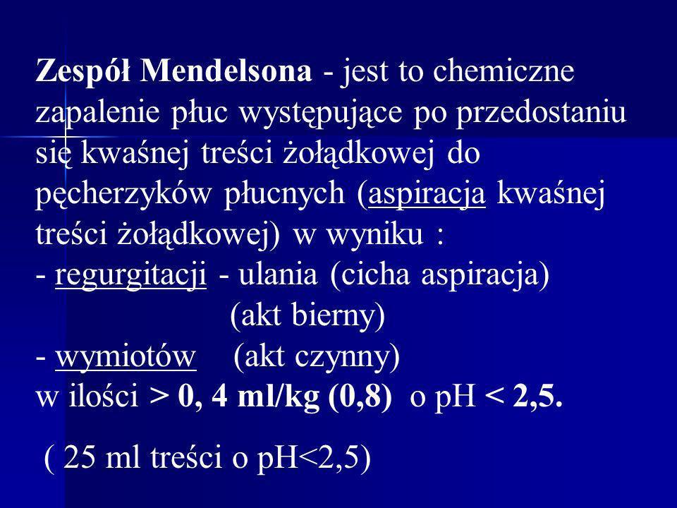 Zespół Mendelsona - jest to chemiczne zapalenie płuc występujące po przedostaniu się kwaśnej treści żołądkowej do pęcherzyków płucnych (aspiracja kwaś