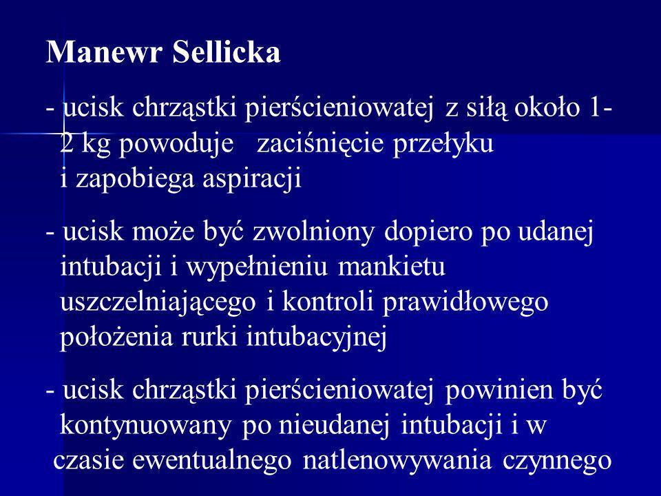 Manewr Sellicka - ucisk chrząstki pierścieniowatej z siłą około 1- 2 kg powoduje zaciśnięcie przełyku i zapobiega aspiracji - ucisk może być zwolniony