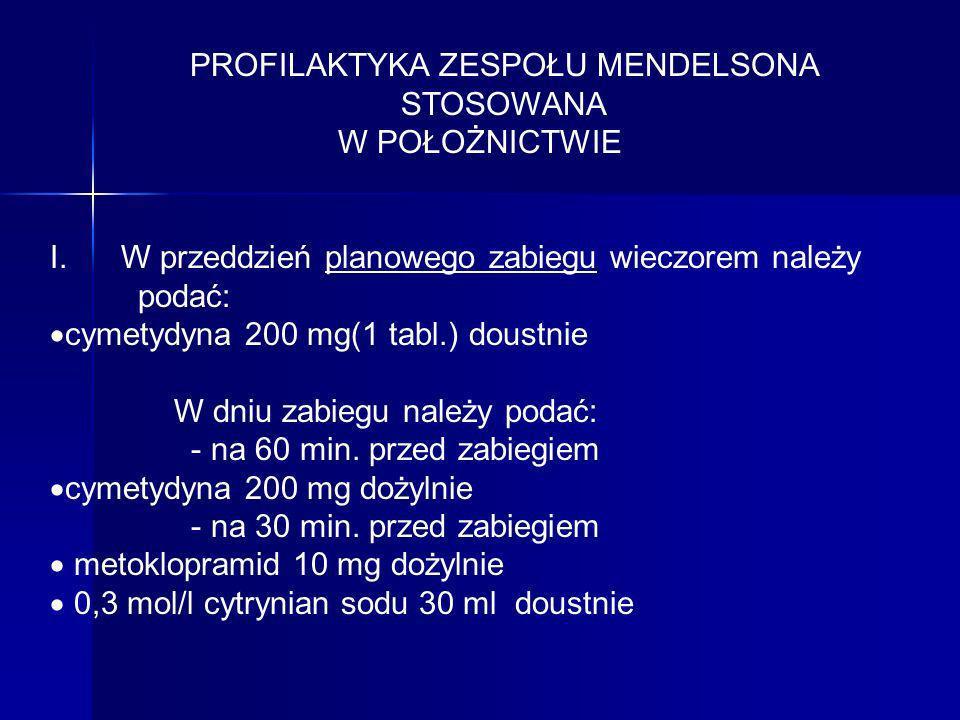 PROFILAKTYKA ZESPOŁU MENDELSONA STOSOWANA W POŁOŻNICTWIE I. W przeddzień planowego zabiegu wieczorem należy podać: cymetydyna 200 mg(1 tabl.) doustnie