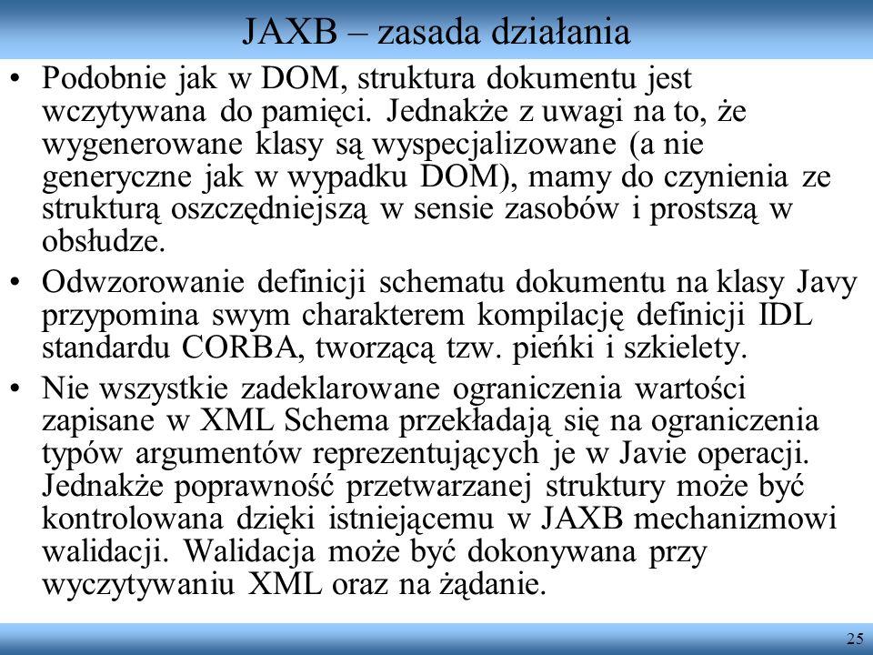 25 JAXB – zasada działania Podobnie jak w DOM, struktura dokumentu jest wczytywana do pamięci. Jednakże z uwagi na to, że wygenerowane klasy są wyspec