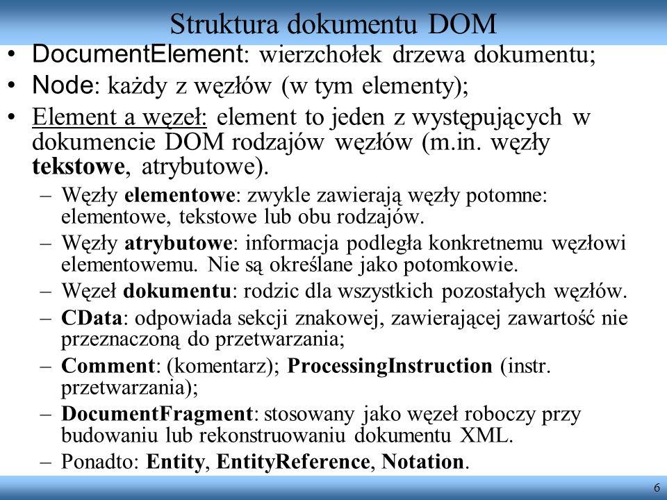 6 Struktura dokumentu DOM DocumentElement : wierzchołek drzewa dokumentu; Node : każdy z węzłów (w tym elementy); Element a węzeł: element to jeden z
