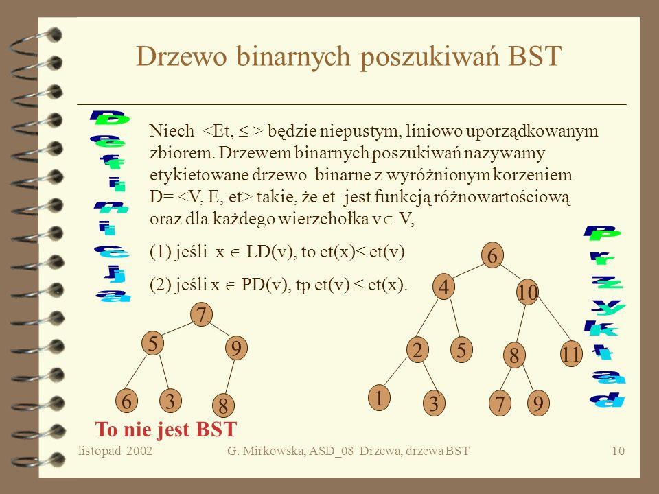 listopad 2002G. Mirkowska, ASD_08 Drzewa, drzewa BST9 Porządki korzeń LDPD 1 2 3 4567 89 1 2 4 5 3 6 8 9 7 4 2 5 1 8 6 9 3 7 ((4)2(5))1(((8) 6( 9))3(7