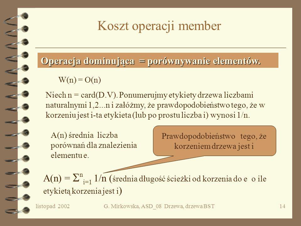 listopad 2002G. Mirkowska, ASD_08 Drzewa, drzewa BST13 Przykład 6 10 8 4 25 1 379 11 Szukam 3Szukam 8.5 pokaz