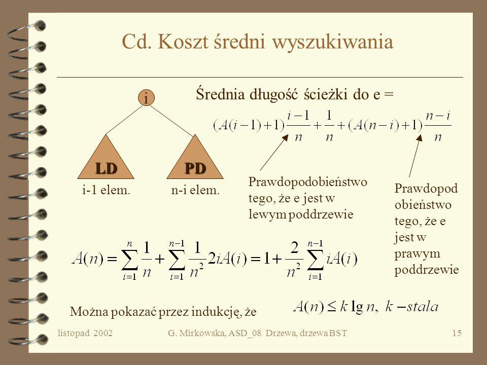 listopad 2002G. Mirkowska, ASD_08 Drzewa, drzewa BST14 Koszt operacji member Operacja dominująca = porównywanie elementów. Niech n = card(D.V). Ponume
