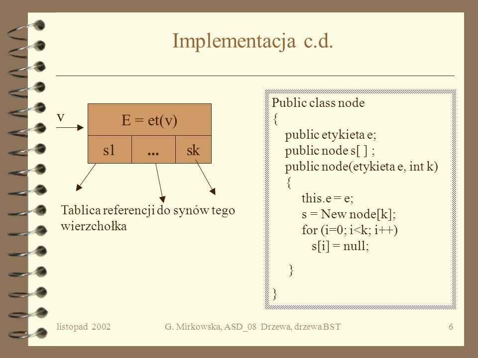 listopad 2002G. Mirkowska, ASD_08 Drzewa, drzewa BST5 Reprezentacja/implementacja drzew Referencja do lewego poddrzewa Referencja do prawego poddrzewa