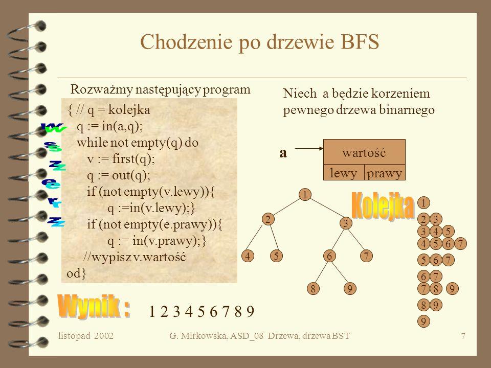 listopad 2002G. Mirkowska, ASD_08 Drzewa, drzewa BST6 Implementacja c.d. E = et(v) v s1...sk Tablica referencji do synów tego wierzchołka Public class