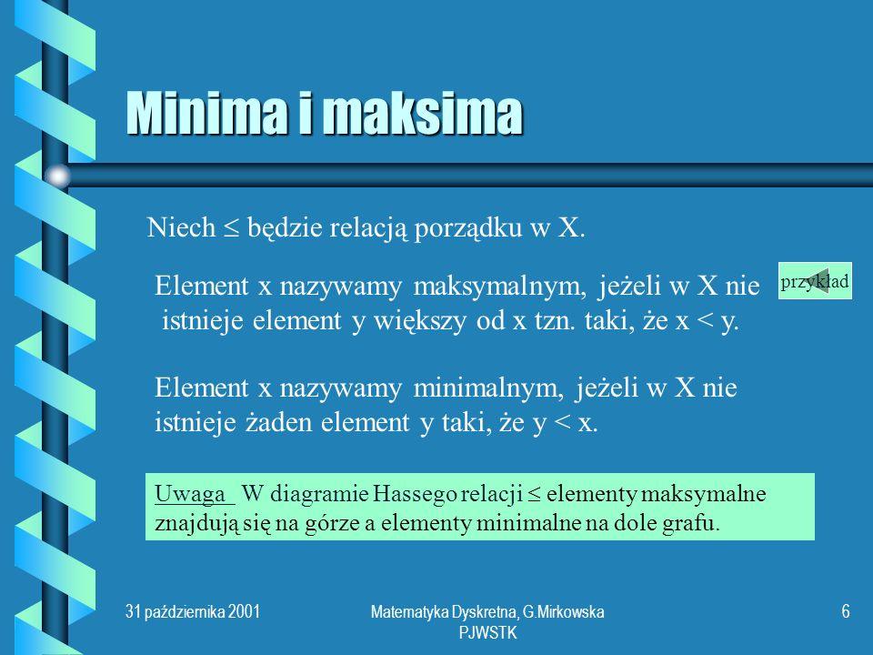 31 października 2001Matematyka Dyskretna, G.Mirkowska PJWSTK 5 Przykład ef d cb a Z diagramu Hassego można odczytać pełną informację o opisanej relacji porządku.