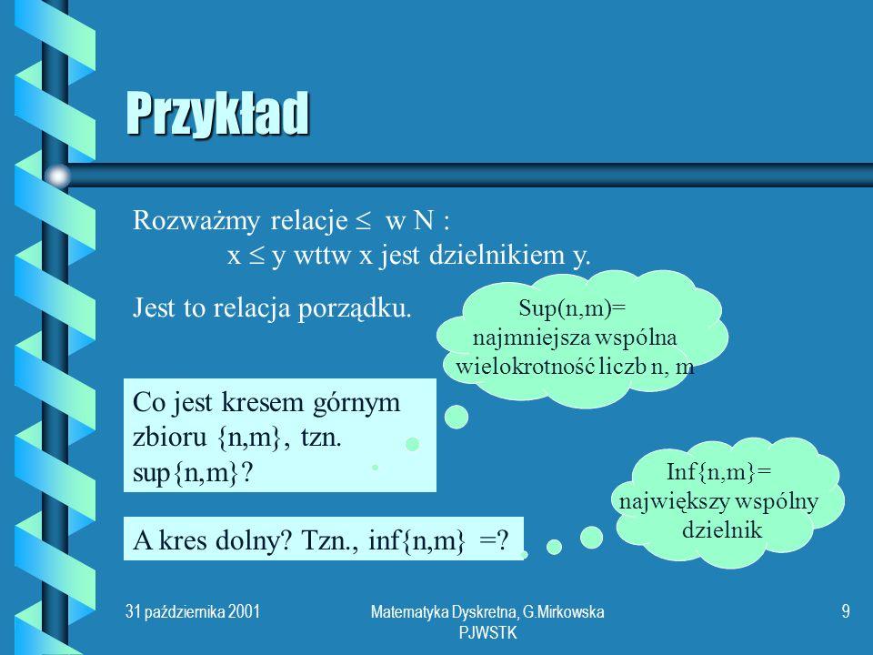 31 października 2001Matematyka Dyskretna, G.Mirkowska PJWSTK 9 Przykład Rozważmy relacje w N : x y wttw x jest dzielnikiem y.