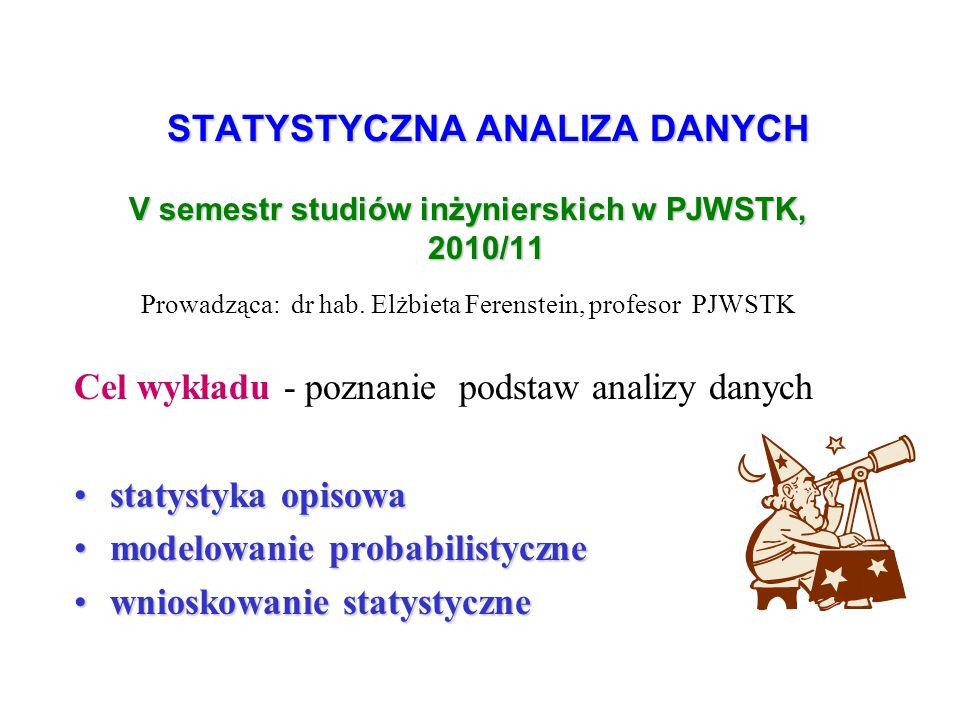 STATYSTYCZNA ANALIZA DANYCH V semestr studiów inżynierskich w PJWSTK, 2010/11 Prowadząca: dr hab.
