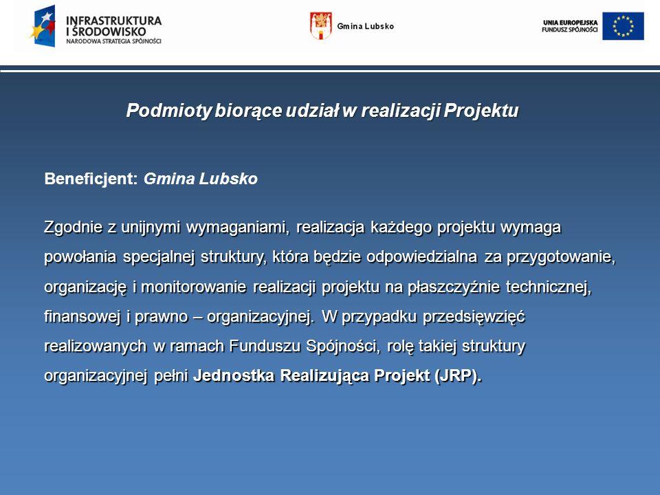 Podmioty biorące udział w realizacji Projektu Beneficjent: Gmina Lubsko Zgodnie z unijnymi wymaganiami, realizacja każdego projektu wymaga powołania s