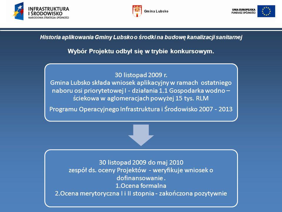 Historia aplikowania Gminy Lubsko o środki na budowę kanalizacji sanitarnej Wybór Projektu odbył się w trybie konkursowym. 30 listopad 2009 r. Gmina L