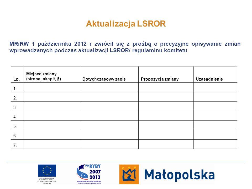 Aktualizacja LSROR MRiRW 1 października 2012 r zwrócił się z prośbą o precyzyjne opisywanie zmian wprowadzanych podczas aktualizacji LSROR/ regulaminu