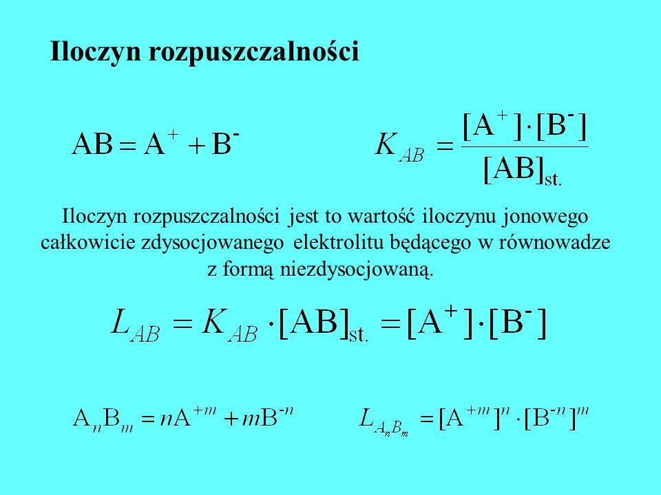 Iloczyn rozpuszczalności Iloczyn rozpuszczalności jest to wartość iloczynu jonowego całkowicie zdysocjowanego elektrolitu będącego w równowadze z form