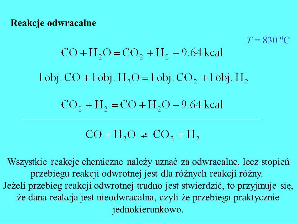 Reakcje odwracalne T = 830 0 C Wszystkie reakcje chemiczne należy uznać za odwracalne, lecz stopień przebiegu reakcji odwrotnej jest dla różnych reakc