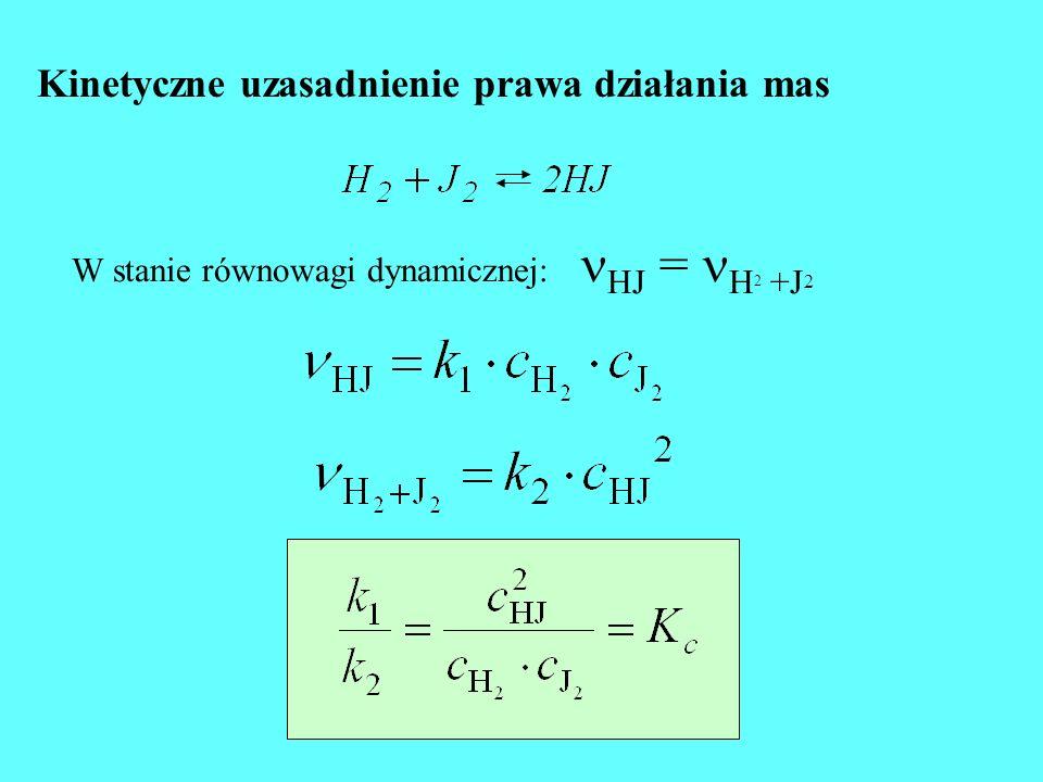 Kinetyczne uzasadnienie prawa działania mas W stanie równowagi dynamicznej: HJ = H 2 +J 2